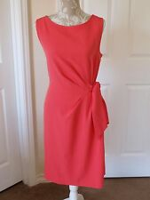 New Anne Klein Dress Sz 14 Coral Pink Solid Sleeveless Ruched Business Cocktail