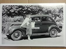 """12 By 18"""" Black & White PICTURE 1937 Ford 2 door Fastback"""