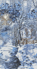 "23"" Fabric Panel - Timeless Treasures Christmas Winter Forest Path Blue White"