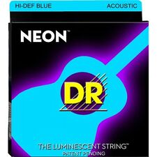 DR NBA-10 K3 Neon​ Color Hi-Def Blue Light Lite Acoustic Guitar Strings 10-48