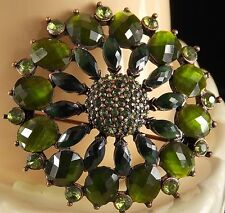 LIZ CLAIBORNE Brooch Gold tone Metal Green Rhinestones That Change Shade