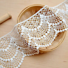 """2 Yards Lace Trim Beige Cotton Embroidery Flower Floral Lace Fabric 4.52"""" width"""