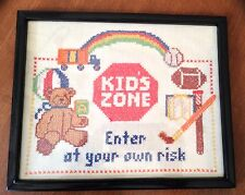 "Vintage Linen Cross Stitch ""Kid Zone Enter At Your Own Risk"" 8 X 10"" Adorable"