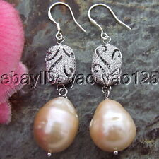 S102115 18mm Pink Keshi Pearl Earrings 925 Silver Hook Cz Connector