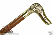 Brass Handle GOLDEN DOG Unique ROSEWOOD Wooden Walking Stick / Cane / Crook