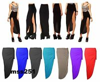 WOMENS RUCHED SIDE SPLIT MAXI SKIRT LONG GATHER SIDE CUT LADIES GYPSY SKIRT 8-14