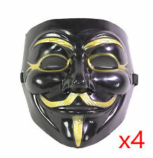 4 Black V for Vendetta Guy Fawkes Anonymous Costume Halloween Cosplay Masks