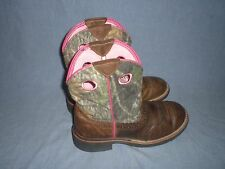 Ariat Women's Fatbaby Cowgirl Boots Distressed Brown Camo Pink 7 1006854