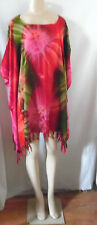 RED GREEN PINK TIE DYE BEACH COVER UP PONCHO TOP  1X 2X 3X