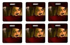 """SEED OF CHUCKY BEVERAGE COASTERS ( TIFFANY ) 1/4"""" BAR & BEER SET OF 6"""