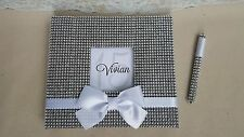 Bling Guest Book & Pen Set - Rhinestone Wedding Guestbook Sign Bow Quinceanera