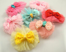"Wholesale 3pcs girl baby toddler 2""boutique Hair Bow mixed ribbon with clips s2m"