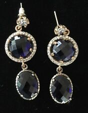 Sterling Silver Gold Accent Blue Sapphire & White Gemstone Dangle Earrings