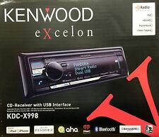 NEW KENWOOD KDC-X998 Single DIN Bluetooth CD/USB/MP3 Receiver With HD Radio