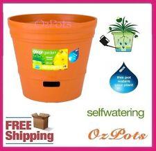 250mm Self Watering Plastic Garden Pots x 6pcs - Indoor & Outdoor - Made in AU