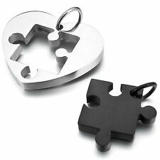 MENDINO Men's Women's Stainless Steel Pendant Necklace Puzzle Heart Love Black