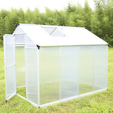 6'x8' Outdoor Aluminum Heavy Duty Polycarbonate Roof Vent Walk-in Greenhouse
