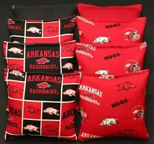 All Weather CORNHOLE BEANBAGS made w University of ARKANSAS RAZORBACKS Fabric