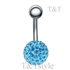 T&T 10mm Aqua Swarovski Crystal Ball Belly Bar Ring BL138F
