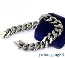 """New Heavy Silver Tone 316L Stainless Steel Curb Chain Men's Fashion Bracelet 9"""""""