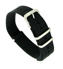 20mm Hadley Roma Expedition Wrap Silver Buckle Black Watch Band Strap