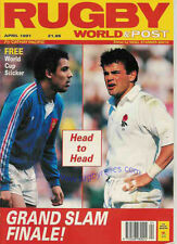 RUGBY WORLD MAGAZINE APRIL 1991 - ENGLAND GRAND SLAM, Mike Teague, Phil Davies
