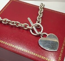 """Sterling Silver Heart Pendant Rolo Artisan Initial Wheat 925 Toggle 18"""" Necklace"""