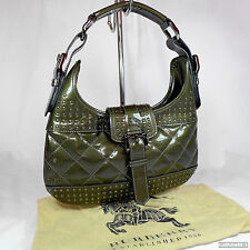 Burberry Dark Green Quilted Patent Leather Small Hobo Shoulder Bag Purse VGC
