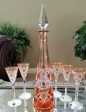 RARE Antique BACCARAT Orange Cut to Clear Crystal Decanter & Cordials, EXCELLENT