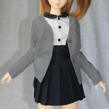 Cotton Cardigan Sweater Clothes with Buttons For 1/4 BJD SD DOD Dolls - Grey