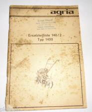 Ersatzteilliste 140/2 Agria für Gartenmaschine Type 1400 mit Sachs Stamo 96 '75