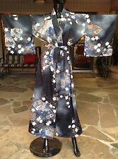 Vintage Floral Japanese Yukata Kimono Komon Polyester Robe