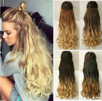 """Thick One Piece Full Head Ombre Clip in Hair Extensions Like Human 17"""" 20"""" 22"""""""