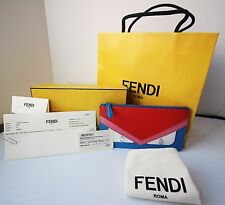 NWT Fendi Monster Bag Bugs Eye Colorblock Flat Pouch Clutch Blue - $350 Receipt!