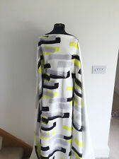 Op Art Chartreuse/BlackPaintbrush Swirl Stretch Scuba Dressmaking Fabric