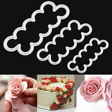 3 X Cake Rose Petal Flower Cutter Fondant Icing Tool Sugarcraft Decorating Mould