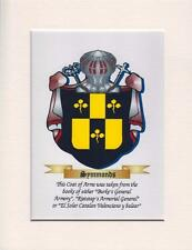 """COAT OF ARMS FAMILY CREST MOUNTED CANVAS PRINT 9"""" X 7"""" PERFECT GIFT"""