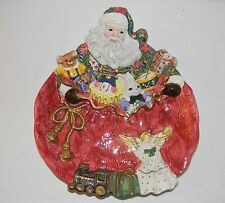 Fitz & Floyd Santa's Face Canape Plate or Wall Hanging 1995 Christmas Season Toy