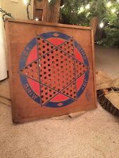 Vintage Primitive Wood Diamond Games Chinese Checkers Board