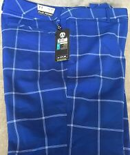 UNDER ARMOUR MENS 36W x 32L BLUE PGA BRIGHT PLAID FLAT FRONT GOLF PANT NEW TAGS