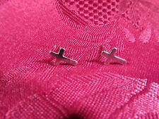 Pierced Silvertone Cross Earring Pair Posts