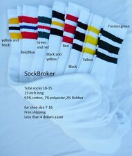 8 pairs of cotton 3 stripe tube socks old school 8 colors 23 inch long 10-15 men