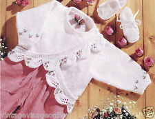 Vintage Knitting- baby cardigan-rosebud scallop leaf edge pattern DK,free UK P&P