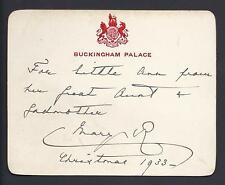 Queen Mary Signed Royal Christmas Card 1933 Buckingham Palace Sandringham