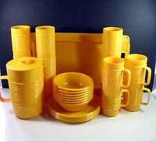 28 pcs SET Rubbermaid YELLOW RIBBED Melmac Melamine Pitcher Tray Bowls Plates +