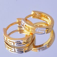 Fashion Jewel Womens Yellow/White Gold Filled Authentic vintage Hoop Earings