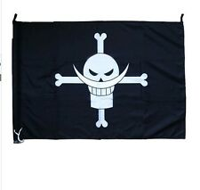 """96x65cm/38""""x25"""" One piece white beard's sign flag black color 2-way for hanging"""