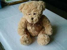 TESCO 07 CARAMEL COLOUR TEDDY BEAR /COMFORTER SOFT HUG TOY& BOW MINT CONDITION