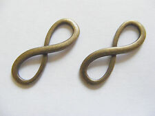 4 Large Metal Antique Bronze Infinity Charms/Connectors - 30mm x 10mm