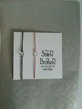 2 Brother & Sister Family Friendship Wish Bracelets Silver Karma Charm & Card